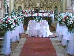 The Church Is Decorated For Wedding